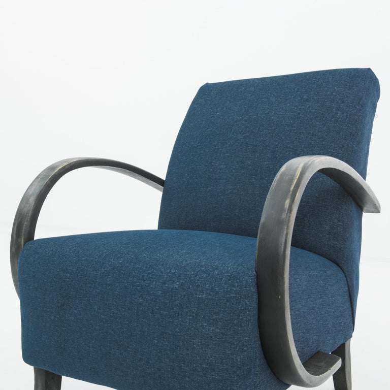 Fabric 1930s Navy Upholstered Armchair by Jindrich Halabala For Sale