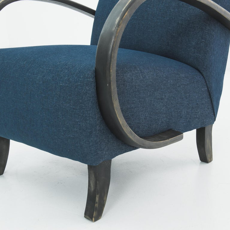 1930s Navy Upholstered Armchair by Jindrich Halabala For Sale 2