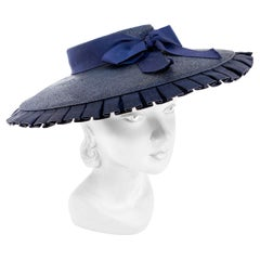 1930s Navy Woven Straw Summer Hat