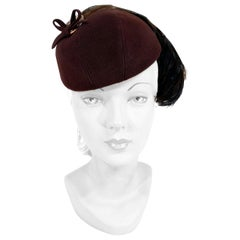 1930s Neiman Marcus Brown Felt Hat with Feather Accent