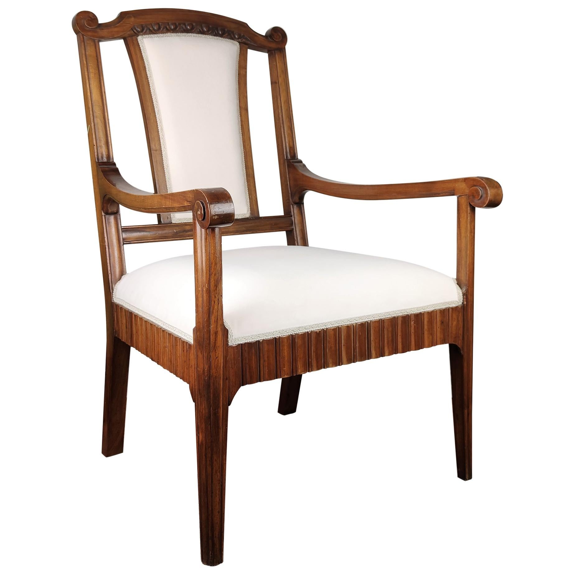 1930s Neoclassical Italian Carved Walnut Wood Armchair Newly Upholstered