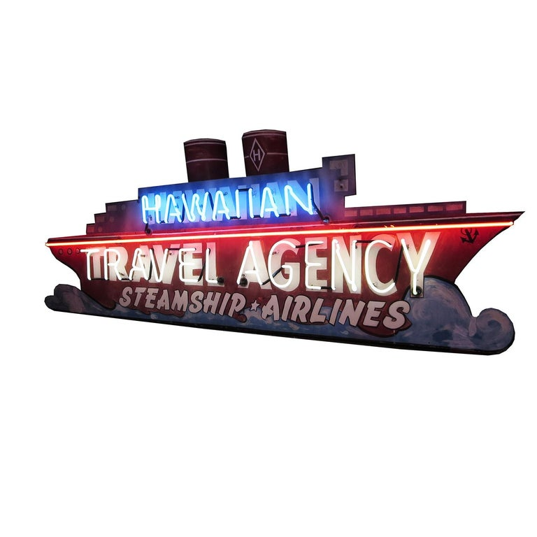 This fantastic sign was from a ticket office that specialized in travel from California to Hawaii. They sold tickets for ocean liner cruises, and airplane tickets. Their sign was a three dimensional ocean liner, hand painted and highlighted with