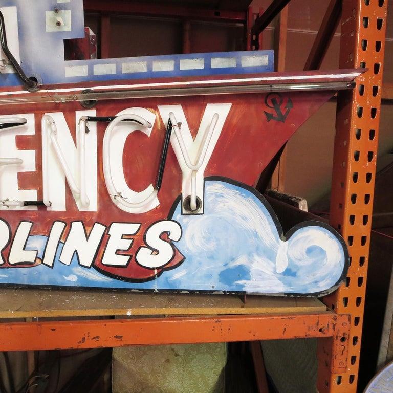 Art Deco 1930s Neon Sign, Ocean Liner, Travel Agency For Sale
