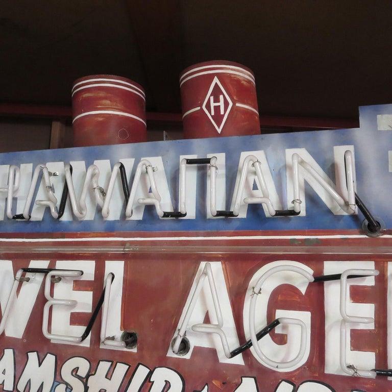 American 1930s Neon Sign, Ocean Liner, Travel Agency For Sale