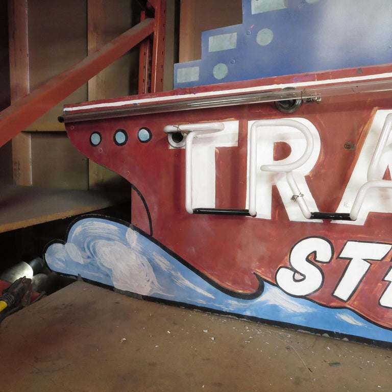 Painted 1930s Neon Sign, Ocean Liner, Travel Agency For Sale