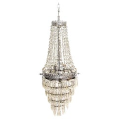 1930s Nickel Over Brass French Traditional Tiered Crystal Basket Chandelier