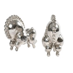 1930s Nickel-Plated 'Libbiloo' Circus Horse Bookends by Russel Wright