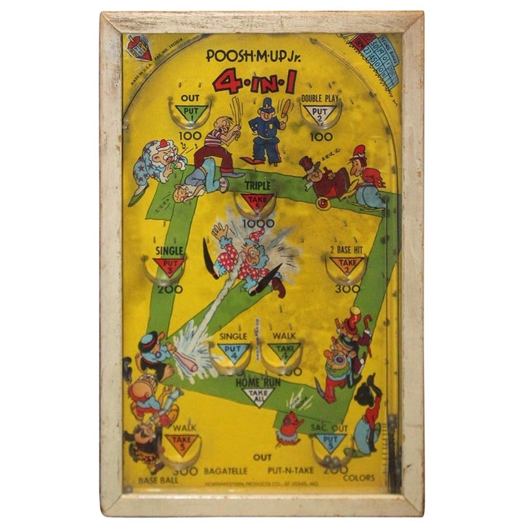 Fantastic 1930S Northwestern Poosh M Up Jr Baseball Tabletop Pinball Game Interior Design Ideas Gentotryabchikinfo
