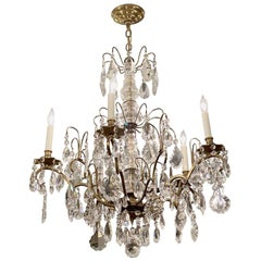1930s NYC Waldorf Astoria Hotel French Chandelier Done in Crystal and Brass