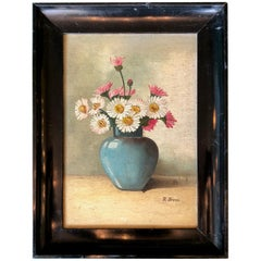 1930s Oil Painting, Still Life with Blue Vase, Original Frame, Signed B. Bross