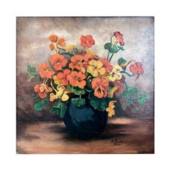 1930s Oil Painting, Still Life with Orange Flowers, Signed and Dated B. Bross