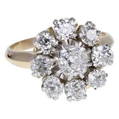 1930s Old Cut Diamond Diamond Daisy Cluster Ring