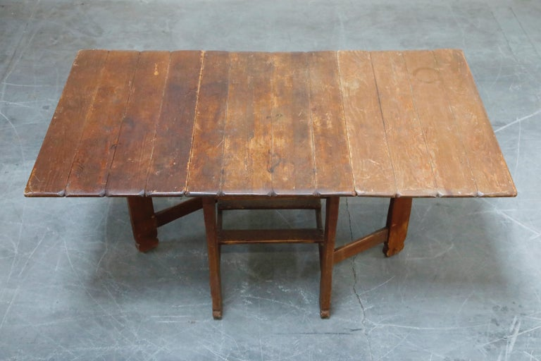 1930s Old Hickory Branded Drop-Leaf Farm Table or Kitchen Island, Signed 3