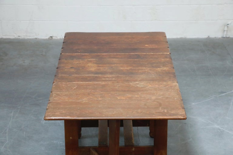 1930s Old Hickory Branded Drop-Leaf Farm Table or Kitchen Island, Signed 8