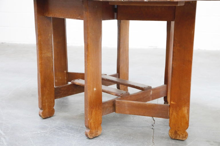 1930s Old Hickory Branded Drop-Leaf Farm Table or Kitchen Island, Signed 9