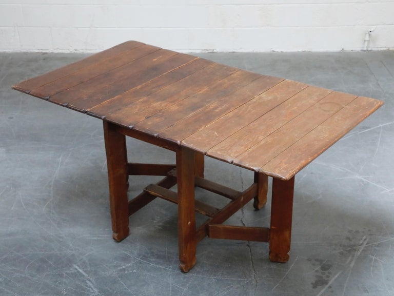 1930s Old Hickory Branded Drop-Leaf Farm Table or Kitchen Island, Signed In Good Condition In Los Angeles, CA