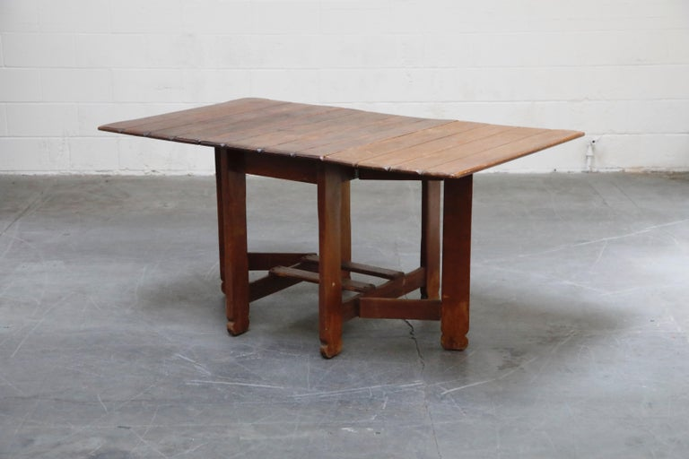 Mid-20th Century 1930s Old Hickory Branded Drop-Leaf Farm Table or Kitchen Island, Signed
