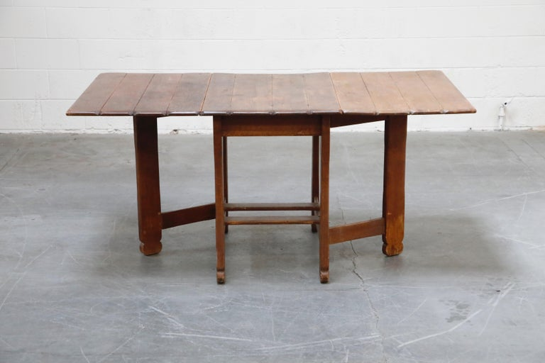 1930s Old Hickory Branded Drop-Leaf Farm Table or Kitchen Island, Signed 1