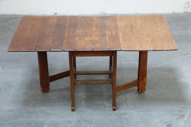 1930s Old Hickory Branded Drop-Leaf Farm Table or Kitchen Island, Signed 2