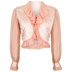 1930s or 1940s Pink Silk Crepe and Satin Quilted Bed Jacket