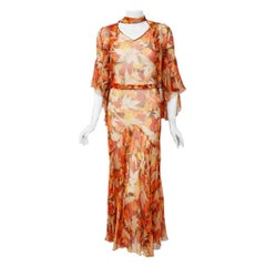 1930's Orange Yellow Floral Silk Chiffon Bias-Cut Dress & Flutter Sleeve Bolero