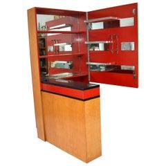 1930s Original Art Deco Burr Maple Drinks Cabinet / Bar