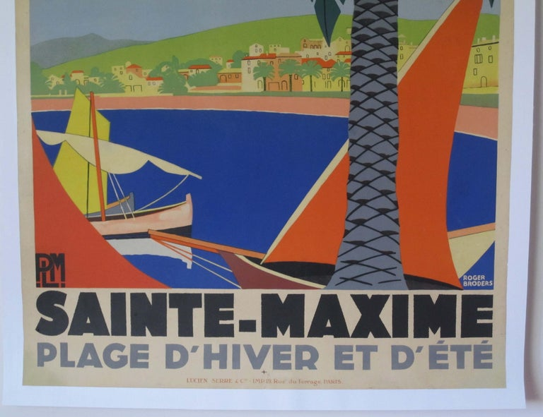 1930s original French Georges Redon Sainte-Maxime travel poster, this original poster has been professionally restored. Linen backed and ready for framing.