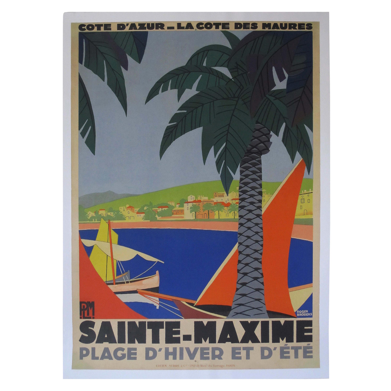 Vintage French Travel Poster 1920s Sainte Maxime Cote D/'Azur Art Deco Riviera