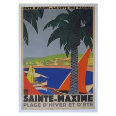 1930s Original Georges Redon Sainte-Maxime Travel Poster, France