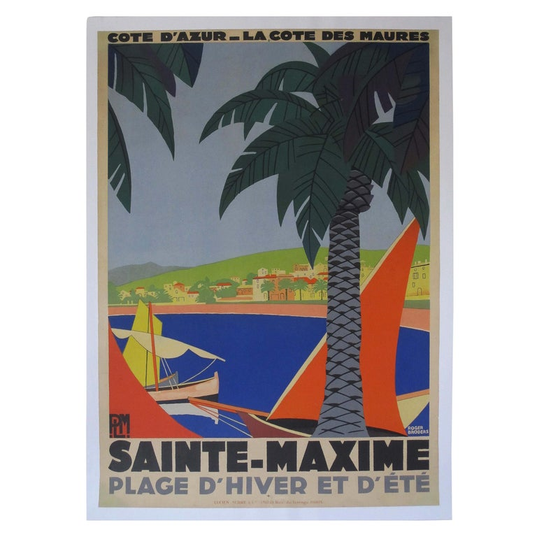 1930s Original Georges Redon Sainte-Maxime Travel Poster, France For Sale