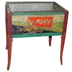 1930s Original Moxie Soda Tin Ice Chest Cooler