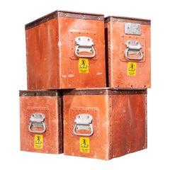 1930's Original Suroy Low Industrial Storage Box, Set of Four