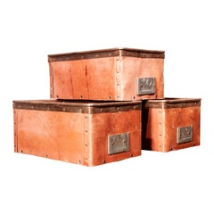 1930s Original Suroy Low Industrial Storage Box, Set of Three