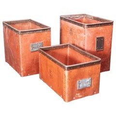 1930's Original Suroy Low Industrial Storage Box, Set Of Three