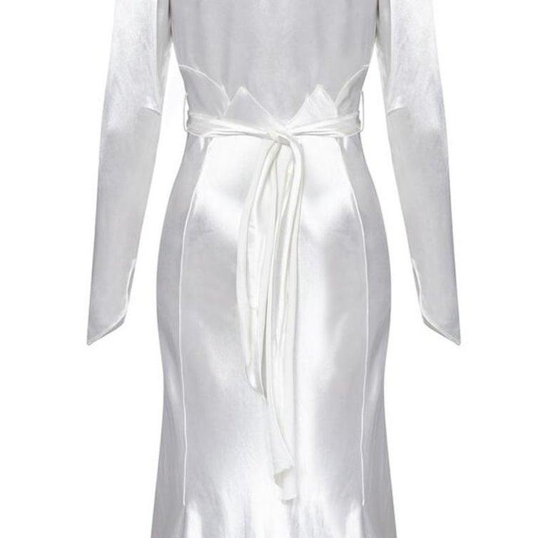 Men's 1930s Original White Silk Satin Bias Cut Wedding Dress For Sale