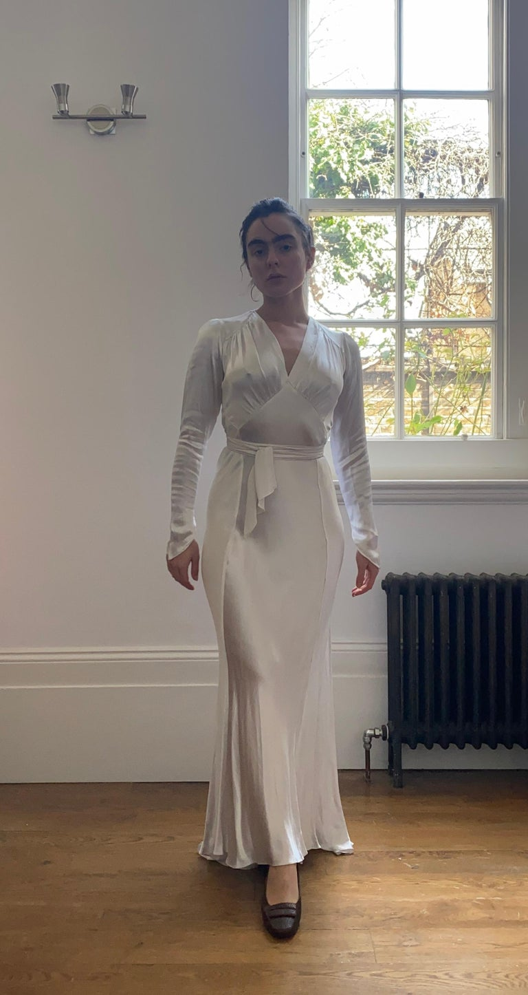 1930s Original White Silk Satin Bias Cut Wedding Dress For Sale 1