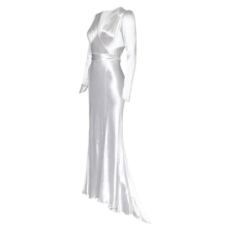 1930s Original White Silk Satin Bias Cut Wedding Dress For Sale