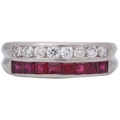 1930s Oscar Heyman Calibre Cut Ruby and Diamond Platinum Band