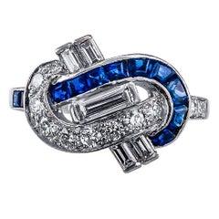 1930s Oscar Heyman Diamond Sapphire Platinum Ring