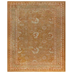 1930s Oushak Rug in Shades of Amber and Green