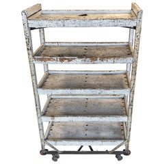 1930's Painted Wooden 5 Shelves Cart Or Bread Rack
