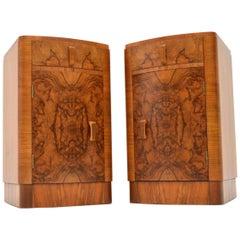 1930s Pair of Art Deco Burr Walnut Bedside Cabinets