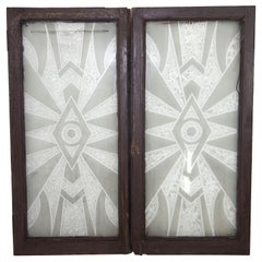 1930s Pair of Art Deco Decorative Patterned Textured Glass Windows