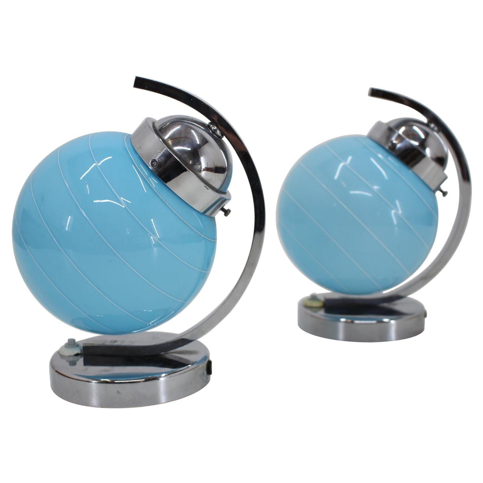 1930s Pair of Blue Bauhaus Table Lamps, Czechoslovakia