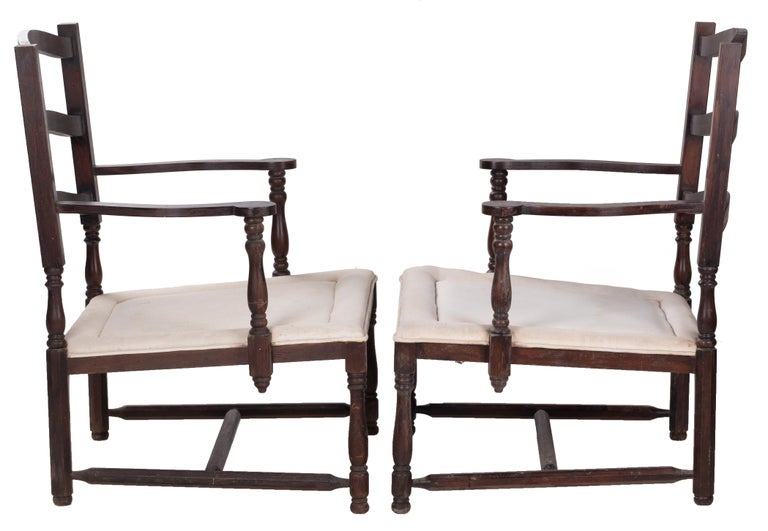 1930s Pair of French Rustic Vintage Wooden Armchairs In Good Condition For Sale In Malaga, ES