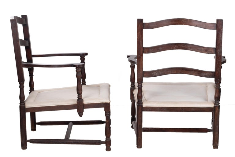Mid-20th Century 1930s Pair of French Rustic Vintage Wooden Armchairs For Sale