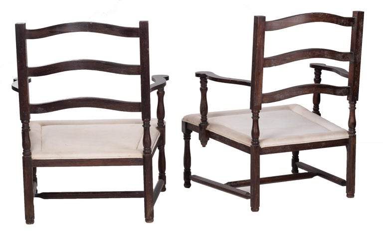 1930s Pair of French Rustic Vintage Wooden Armchairs For Sale 1