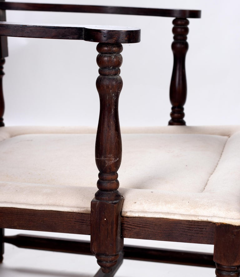 1930s Pair of French Rustic Vintage Wooden Armchairs For Sale 3