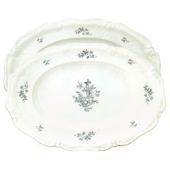"1930s Pair of German Hand Painted Porcelain Serving Platter's ""Le Reine"""