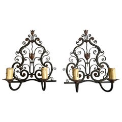 1930s Pair of Handmade Wrought Iron French Art Deco Poillerat Style Wall Sconces